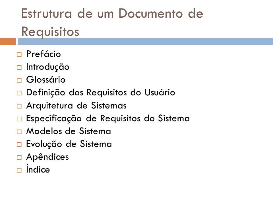 Estrutura de um Documento de Requisitos