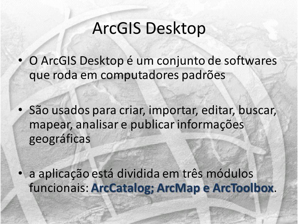 ArcGIS Desktop O ArcGIS Desktop é um conjunto de softwares que roda em computadores padrões.