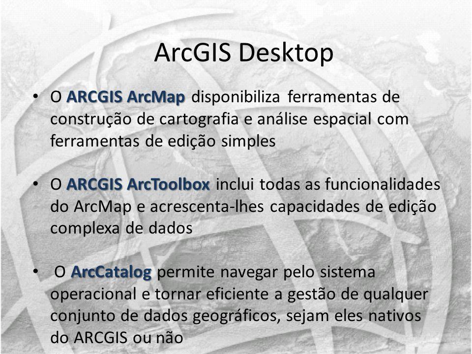 ArcGIS Desktop O ARCGIS ArcMap disponibiliza ferramentas de construção de cartografia e análise espacial com ferramentas de edição simples.