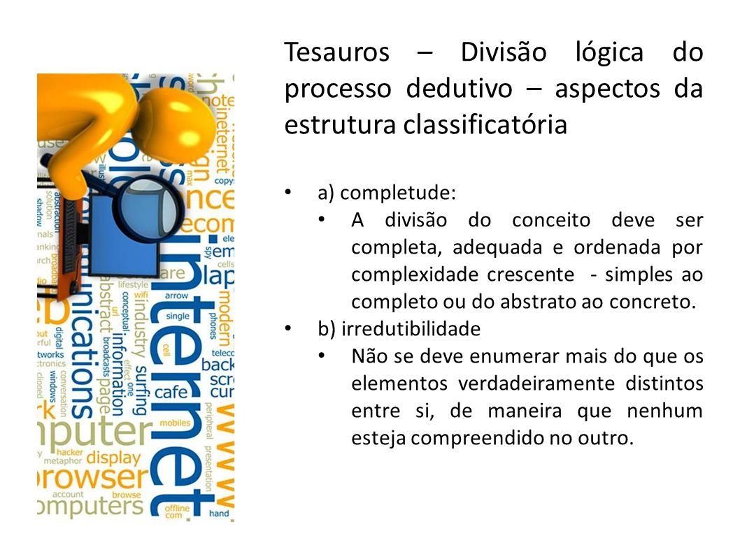 Tesauros – Divisão lógica do processo dedutivo – aspectos da estrutura classificatória