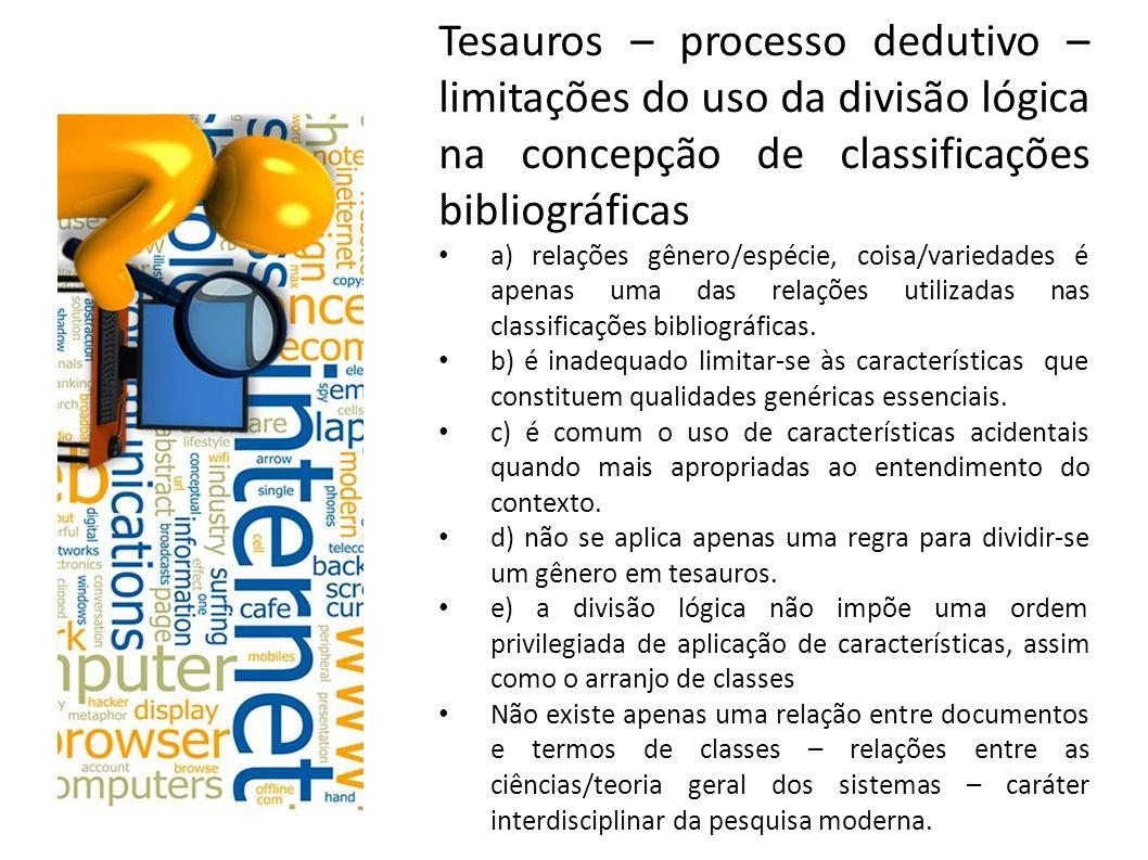 Tesauros – processo dedutivo – limitações do uso da divisão lógica na concepção de classificações bibliográficas
