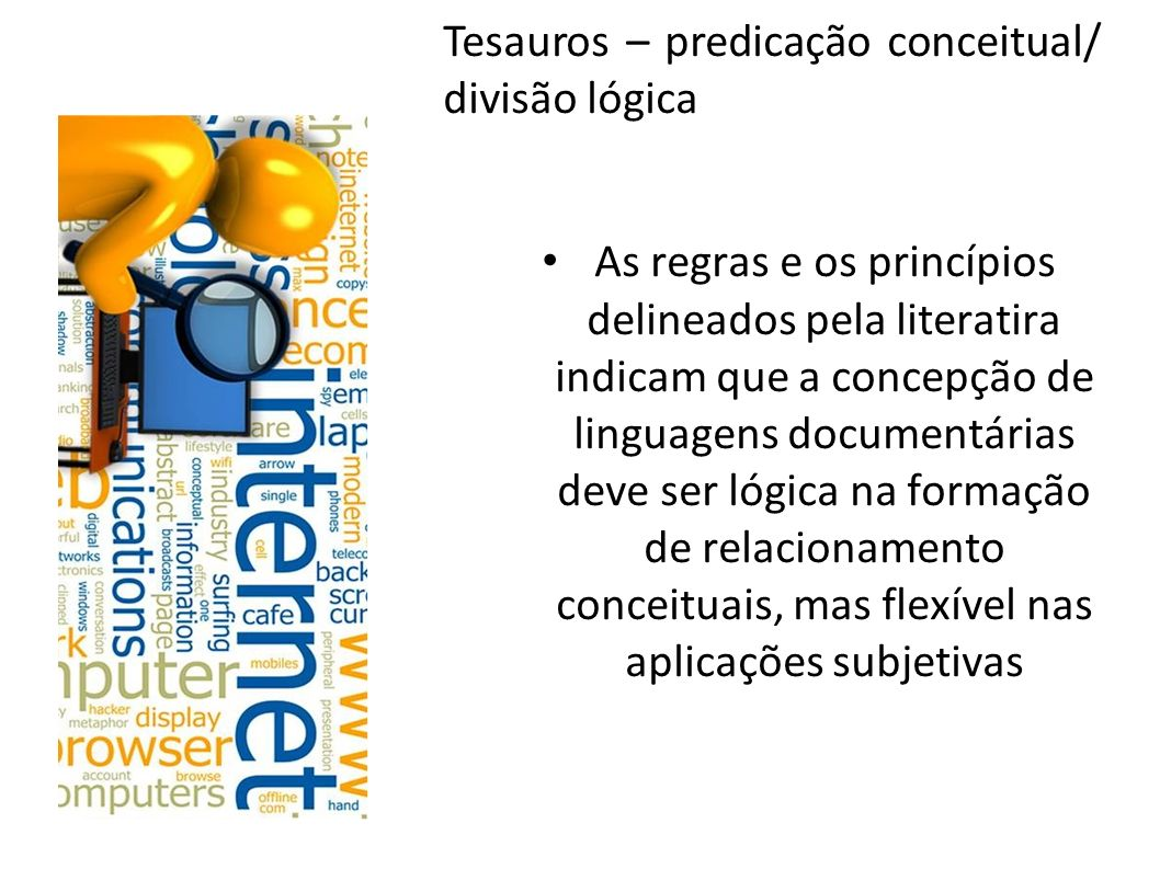 Tesauros – predicação conceitual/ divisão lógica