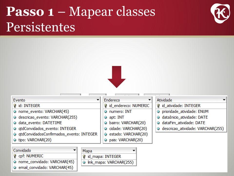 Passo 1 – Mapear classes Persistentes