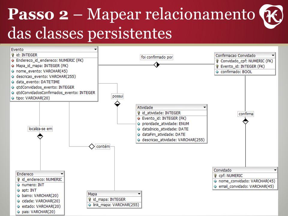 Passo 2 – Mapear relacionamento das classes persistentes