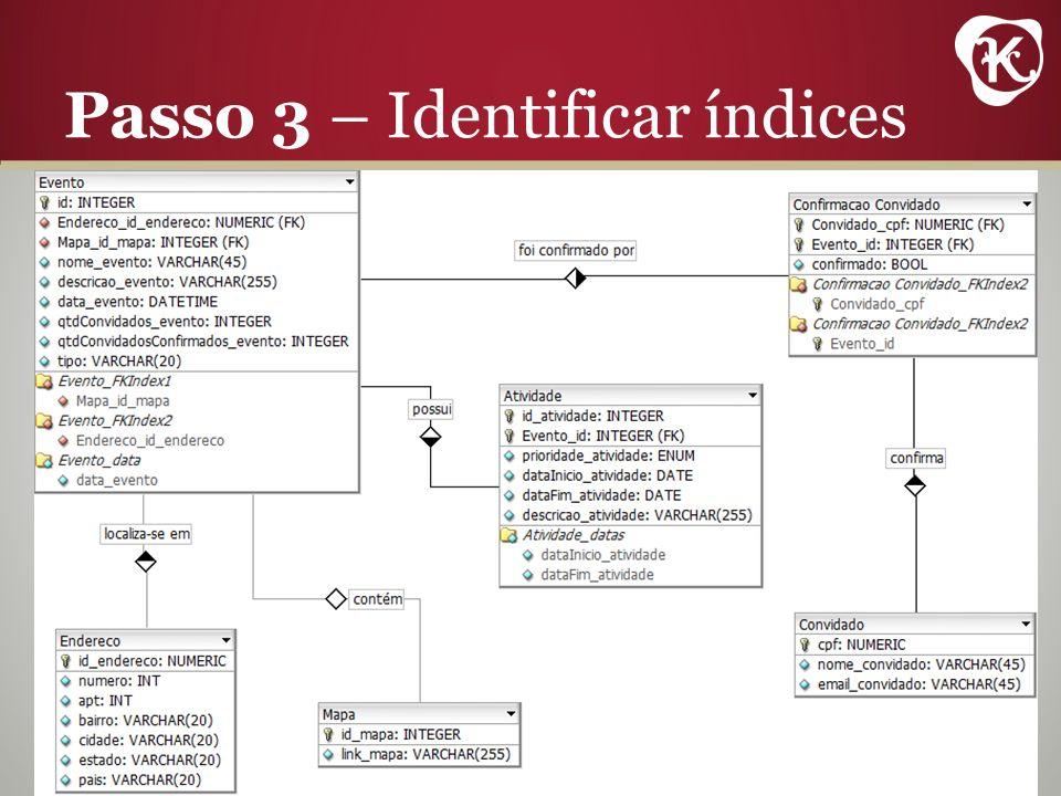 Passo 3 – Identificar índices
