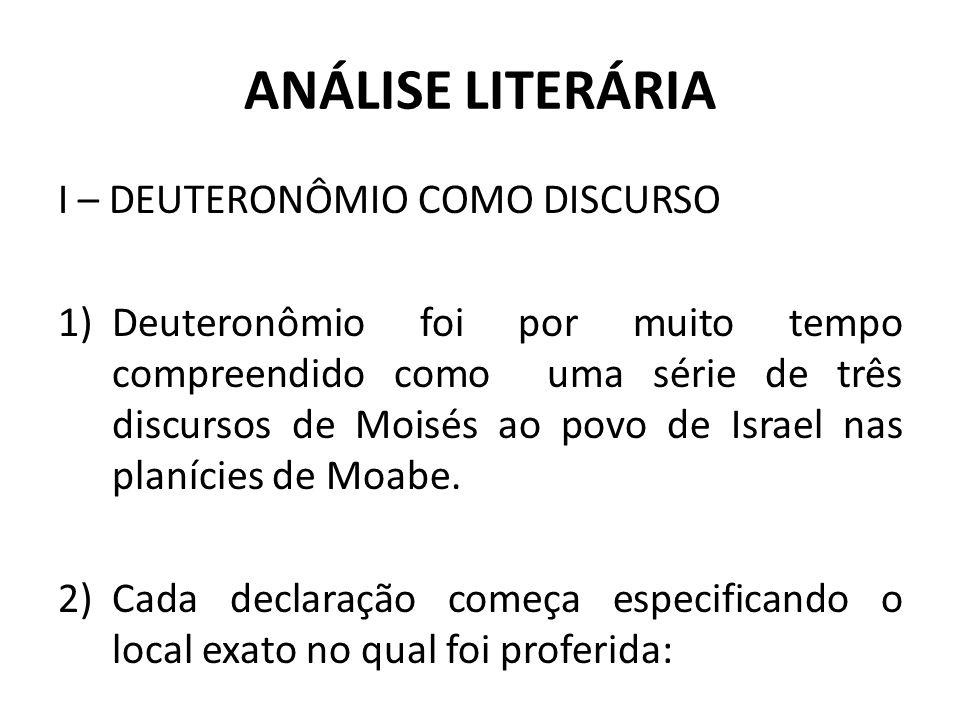ANÁLISE LITERÁRIA I – DEUTERONÔMIO COMO DISCURSO