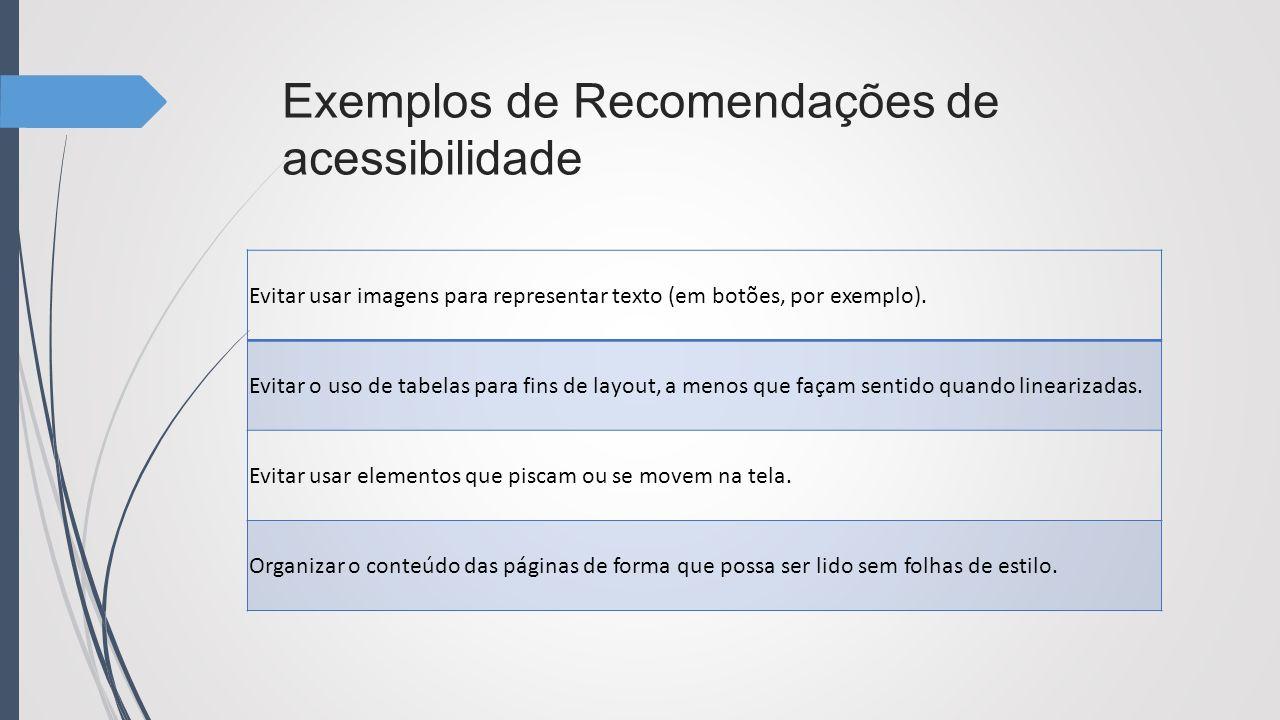 Exemplos de Recomendações de acessibilidade
