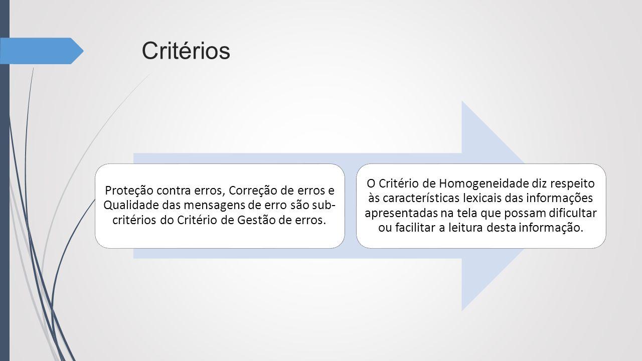 Critérios Proteção contra erros, Correção de erros e Qualidade das mensagens de erro são sub-critérios do Critério de Gestão de erros.