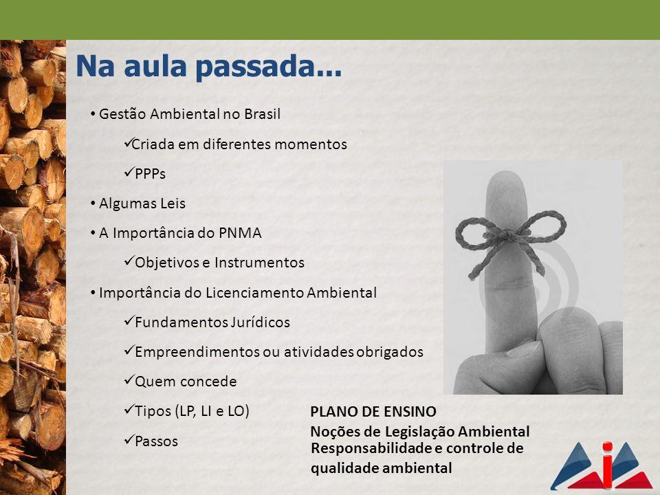 Na aula passada... Gestão Ambiental no Brasil