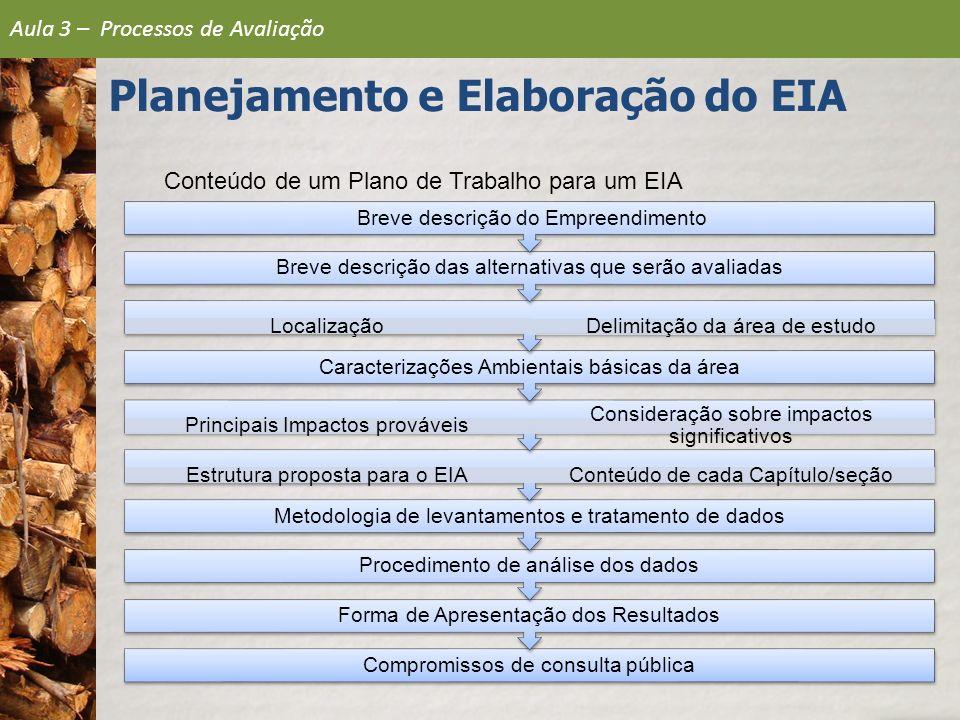 Conteúdo de um Plano de Trabalho para um EIA