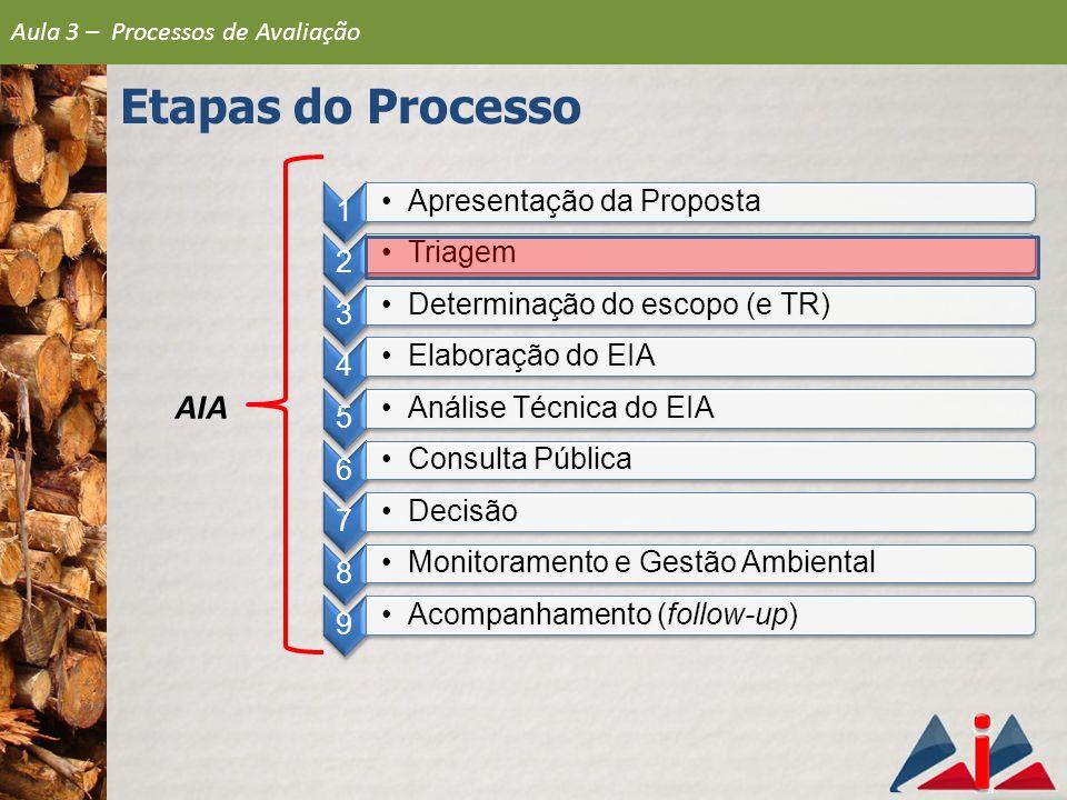 Etapas do Processo AIA Apresentação da Proposta Triagem