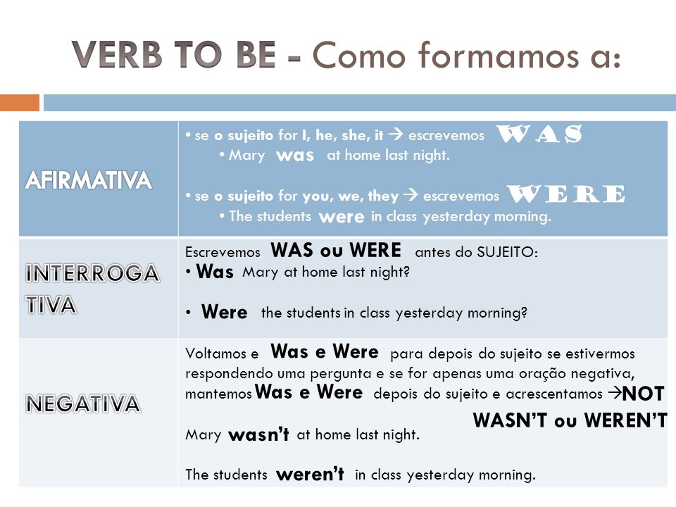 VERB TO BE - Como formamos a: