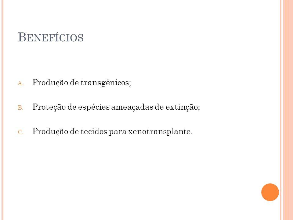 Benefícios Produção de transgênicos;