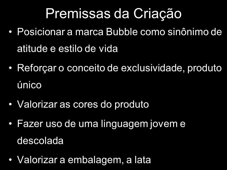 Premissas da Criação Posicionar a marca Bubble como sinônimo de atitude e estilo de vida. Reforçar o conceito de exclusividade, produto único.