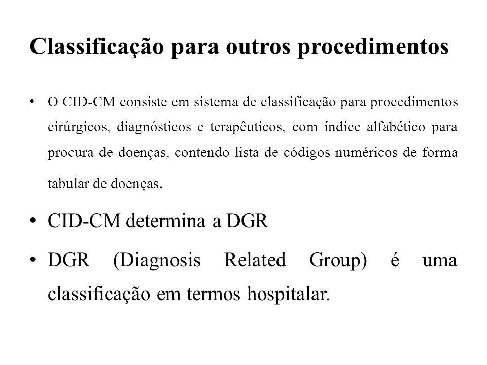 Classificação para outros procedimentos