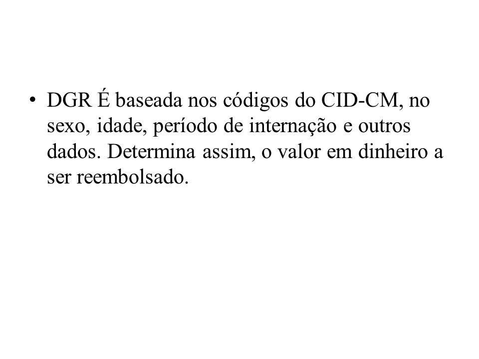 DGR É baseada nos códigos do CID-CM, no sexo, idade, período de internação e outros dados.