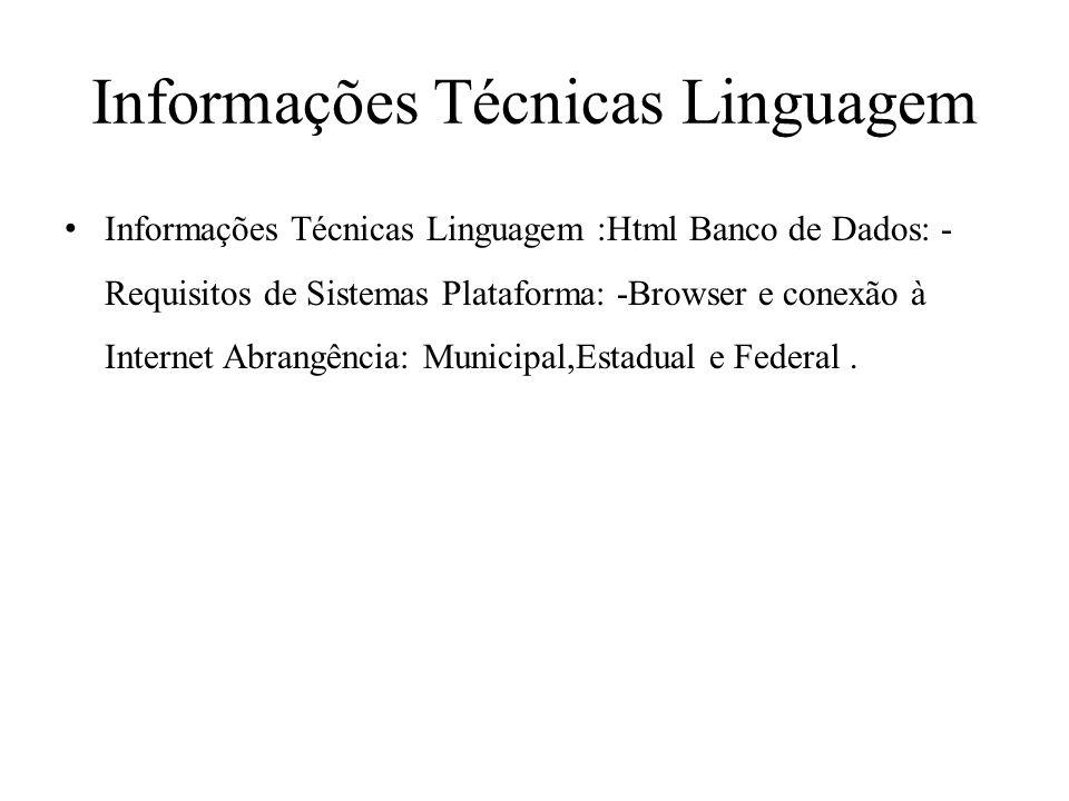 Informações Técnicas Linguagem