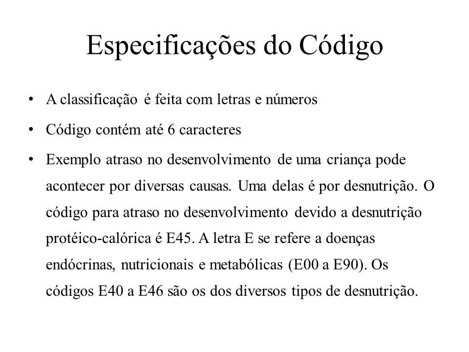 Especificações do Código