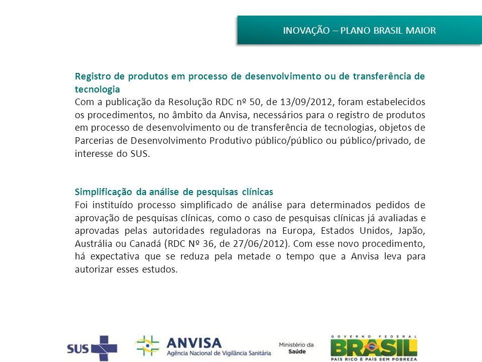 INOVAÇÃO – PLANO BRASIL MAIOR