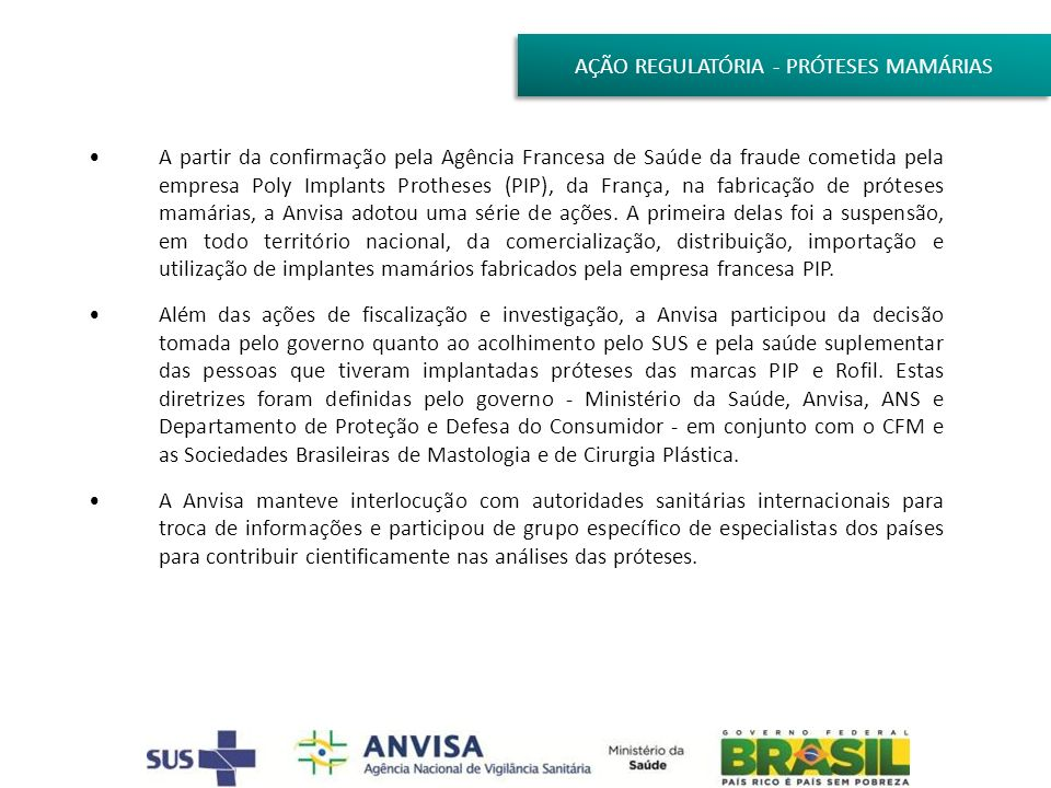 AÇÃO REGULATÓRIA - PRÓTESES MAMÁRIAS