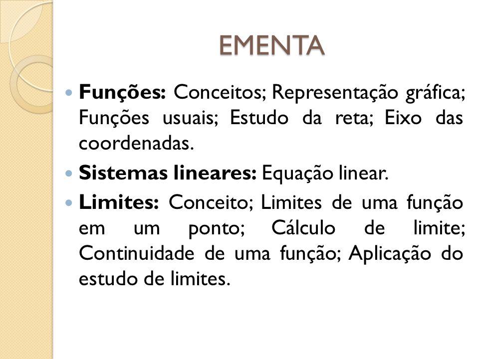 EMENTA Funções: Conceitos; Representação gráfica; Funções usuais; Estudo da reta; Eixo das coordenadas.