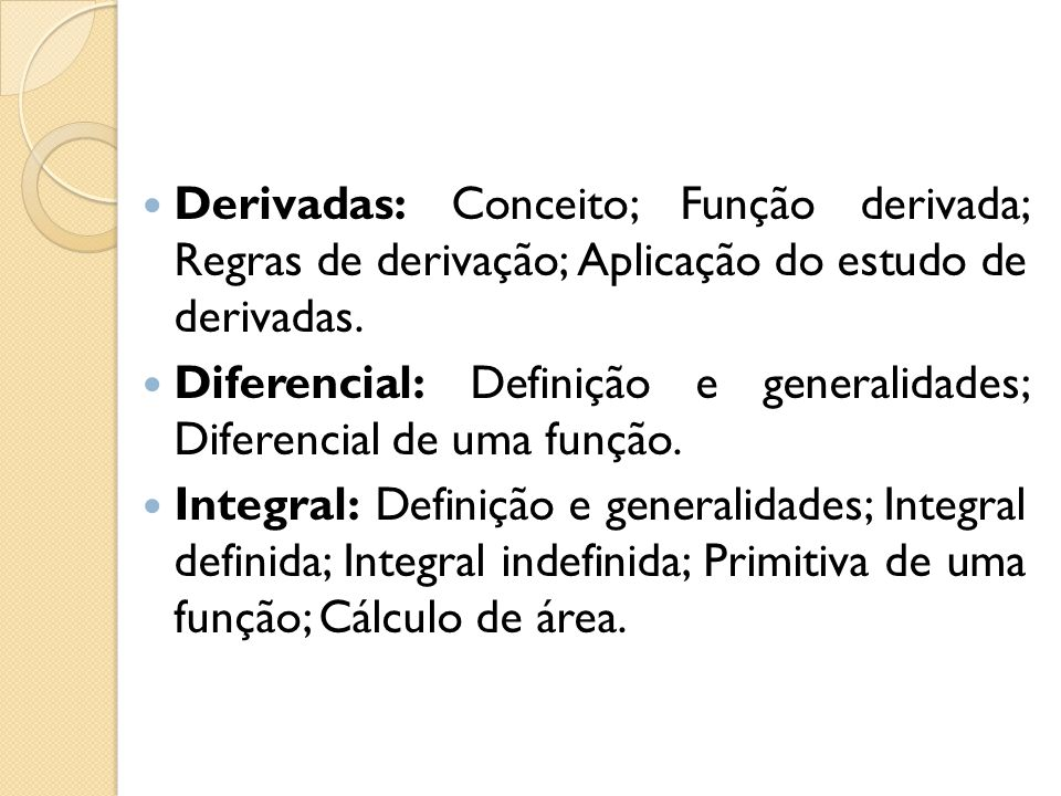 Derivadas: Conceito; Função derivada; Regras de derivação; Aplicação do estudo de derivadas.