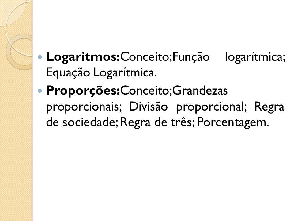 Logaritmos:Conceito;Função logarítmica; Equação Logarítmica.