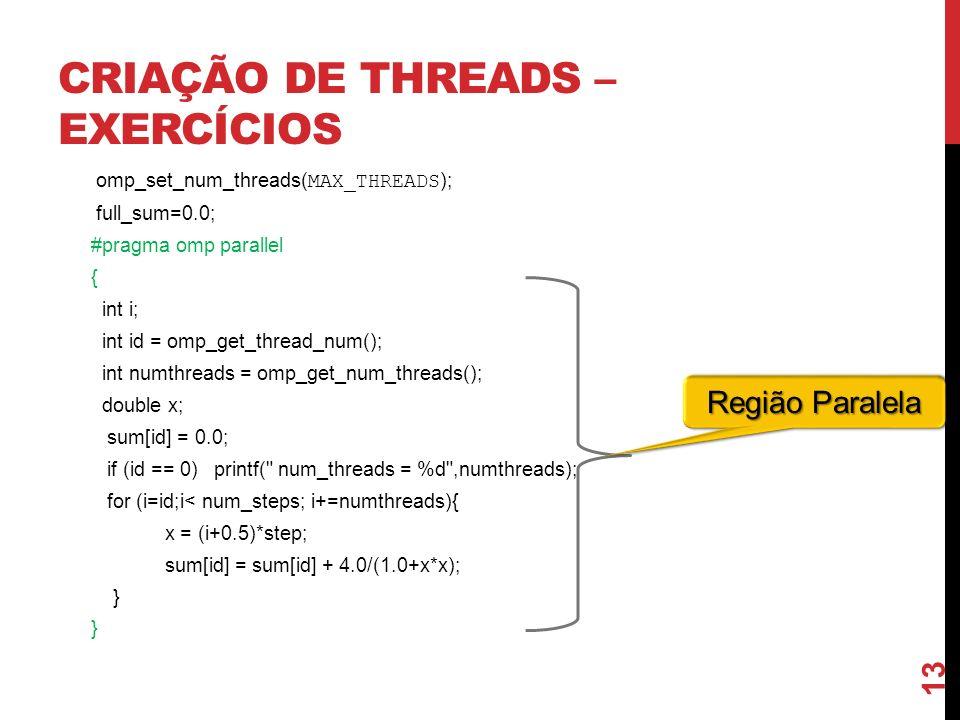 Criação de Threads – Exercícios