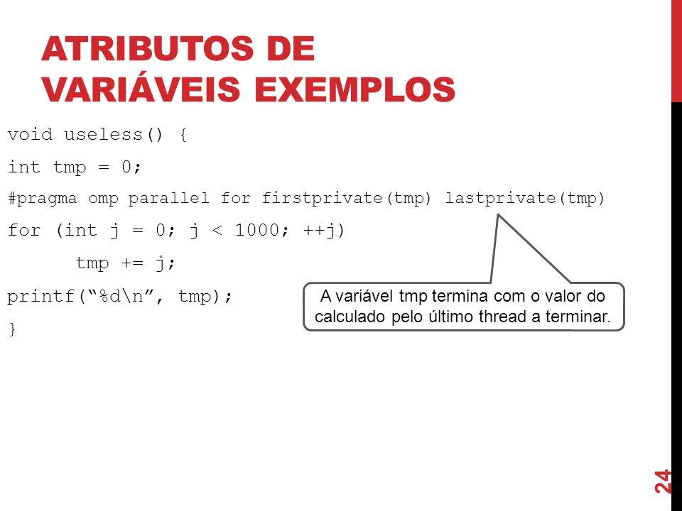 Atributos de variáveis exemplos