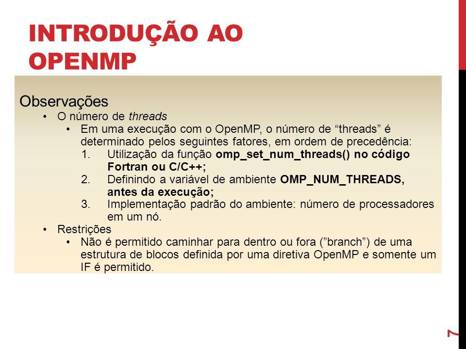 Introdução ao OpenMP Observações O número de threads