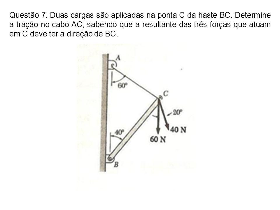 Questão 7. Duas cargas são aplicadas na ponta C da haste BC
