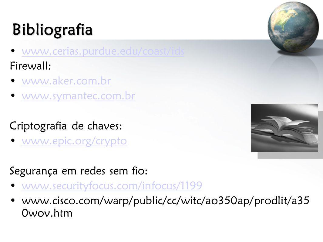 Bibliografia www.cerias.purdue.edu/coast/ids Firewall: www.aker.com.br