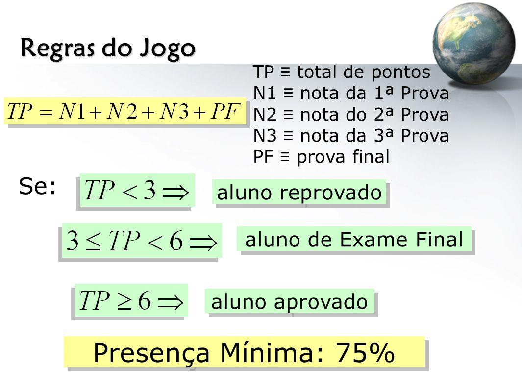 Regras do Jogo Presença Mínima: 75% Se: aluno reprovado