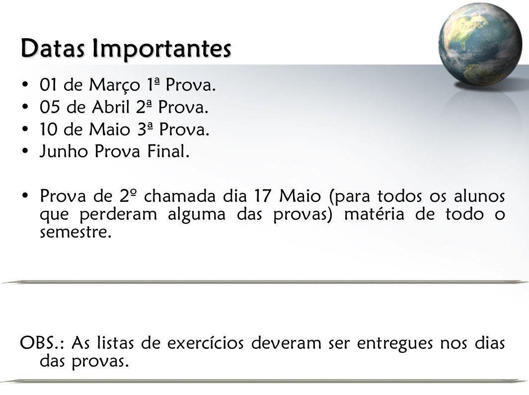 Datas Importantes 01 de Março 1ª Prova. 05 de Abril 2ª Prova.