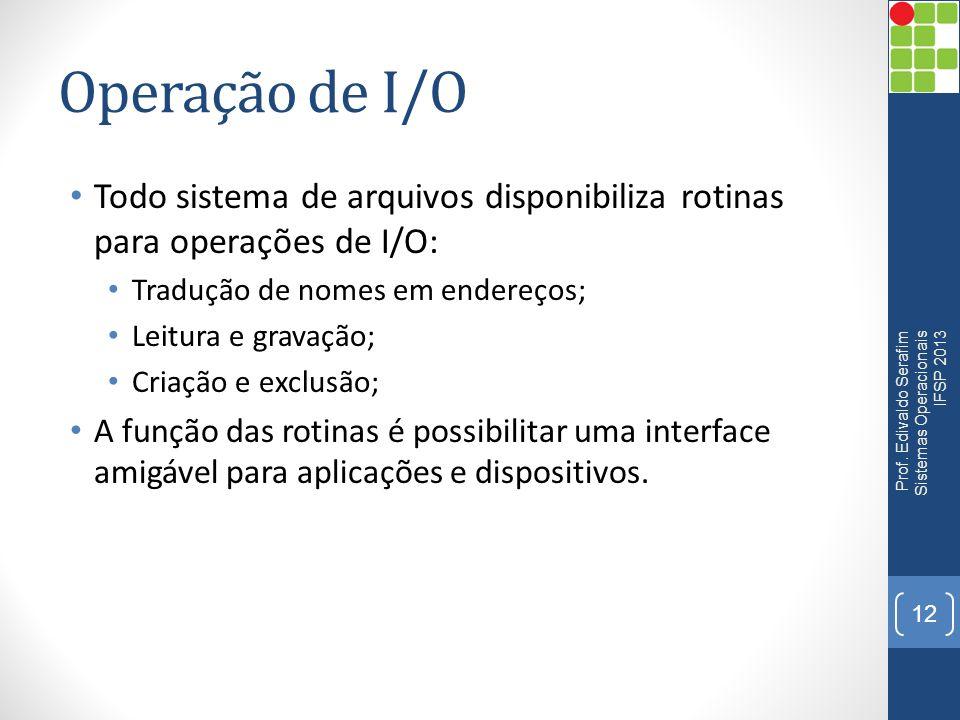 Operação de I/O Todo sistema de arquivos disponibiliza rotinas para operações de I/O: Tradução de nomes em endereços;