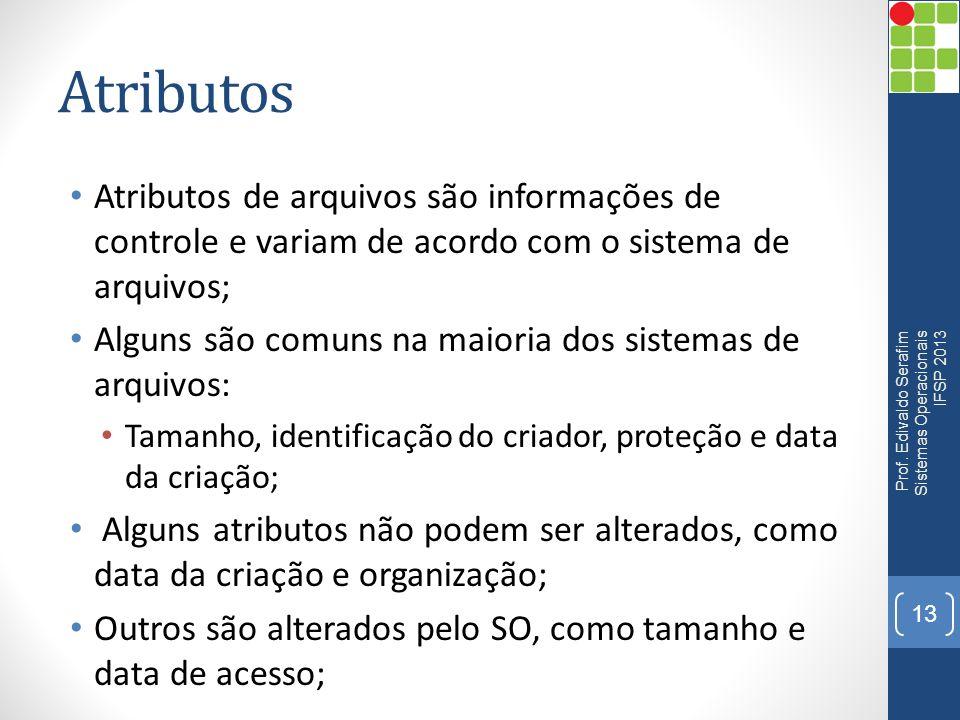 Atributos Atributos de arquivos são informações de controle e variam de acordo com o sistema de arquivos;