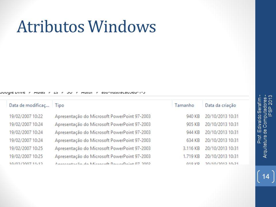 Atributos Windows Prof. Edivaldo Serafim - Arquitetura de Computadores - IFSP 2013