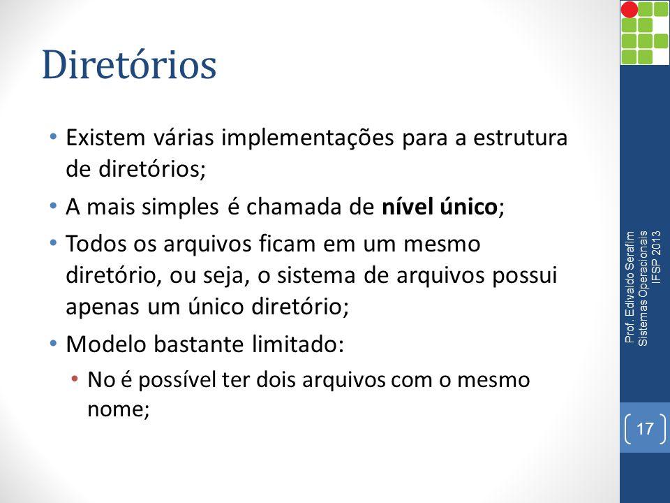 Diretórios Existem várias implementações para a estrutura de diretórios; A mais simples é chamada de nível único;