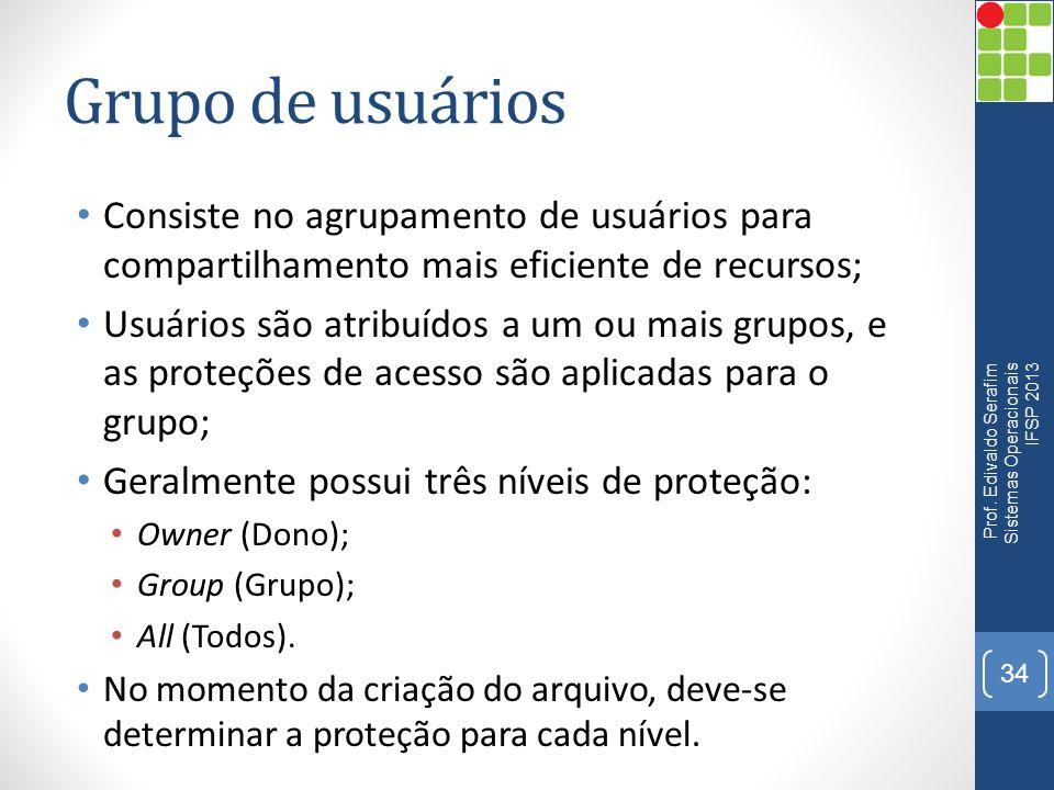 Grupo de usuários Consiste no agrupamento de usuários para compartilhamento mais eficiente de recursos;