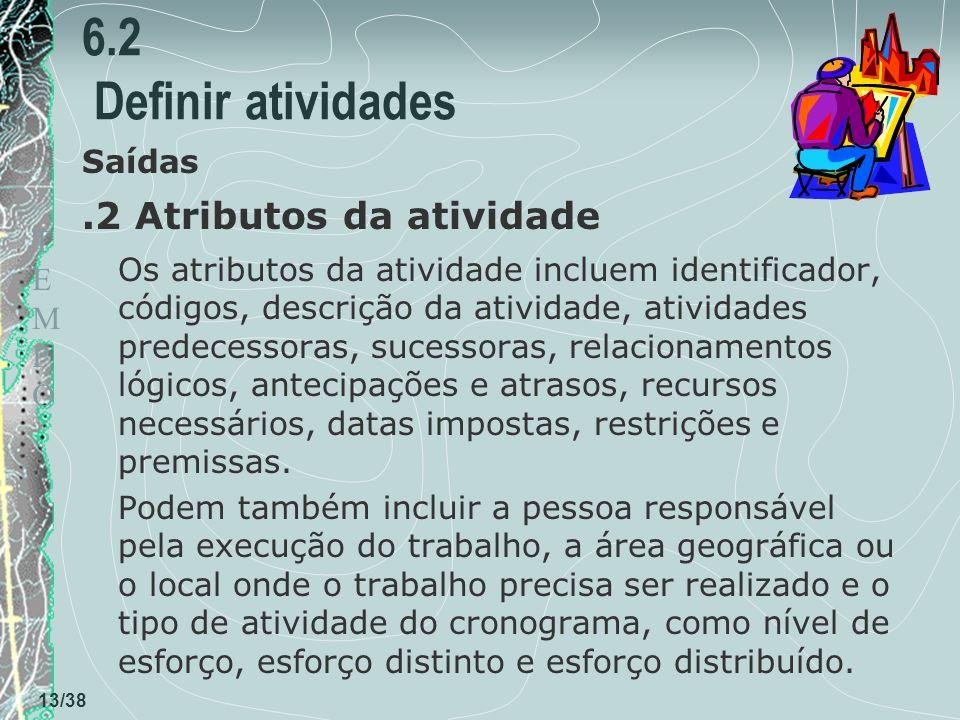 6.2 Definir atividades .2 Atributos da atividade Saídas