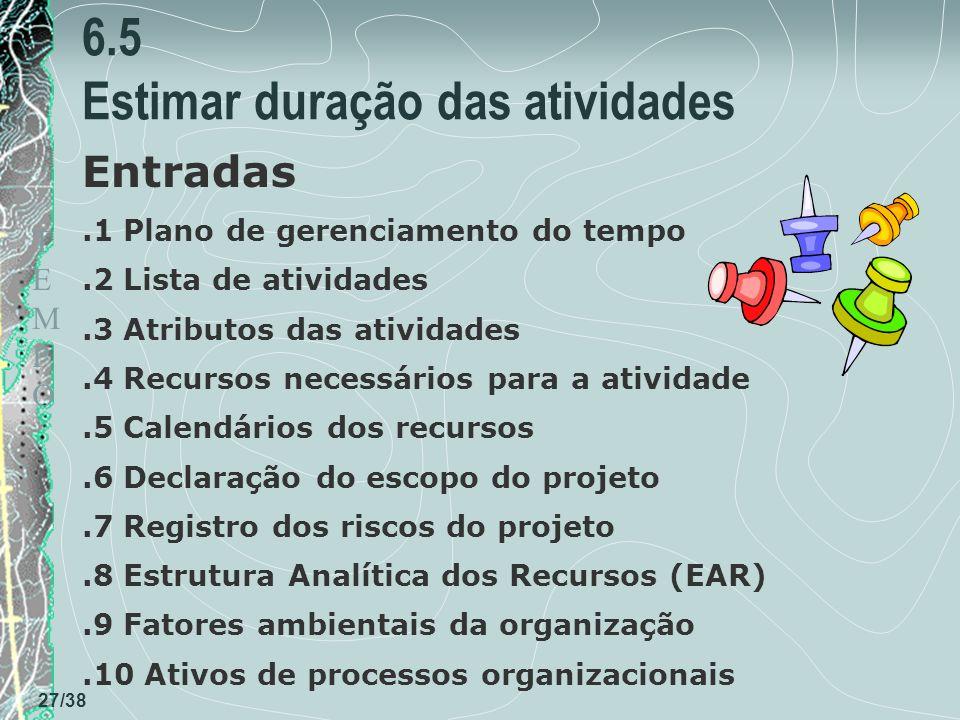 6.5 Estimar duração das atividades