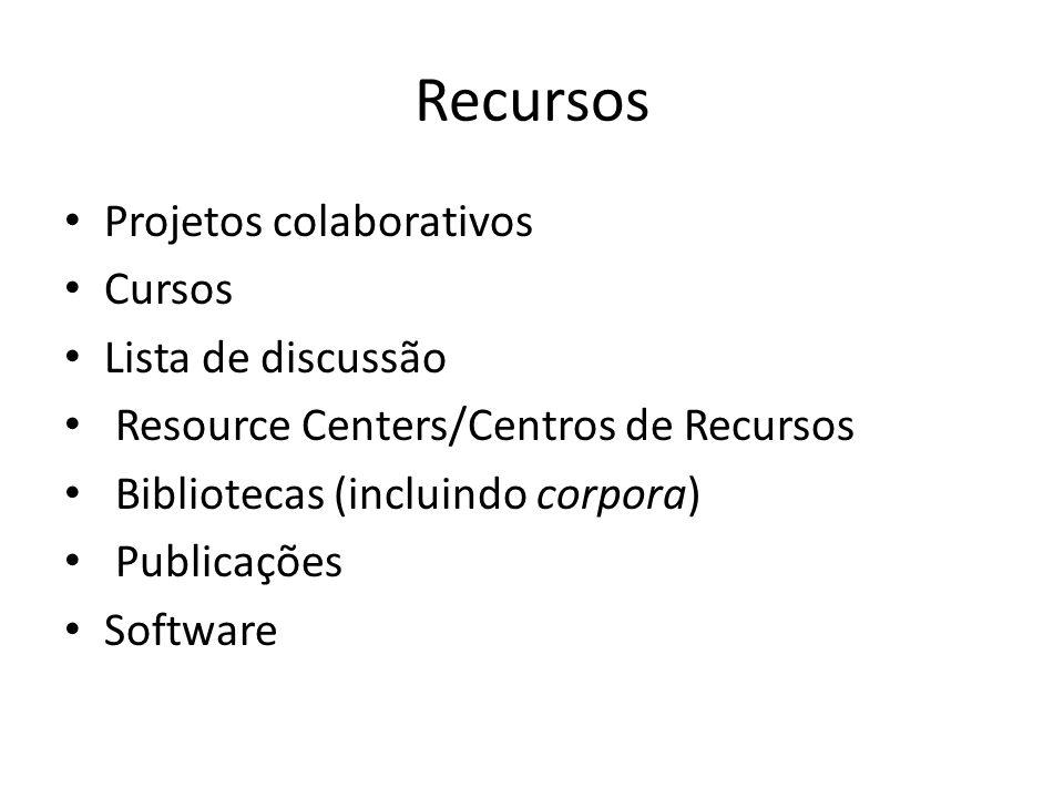 Recursos Projetos colaborativos Cursos Lista de discussão