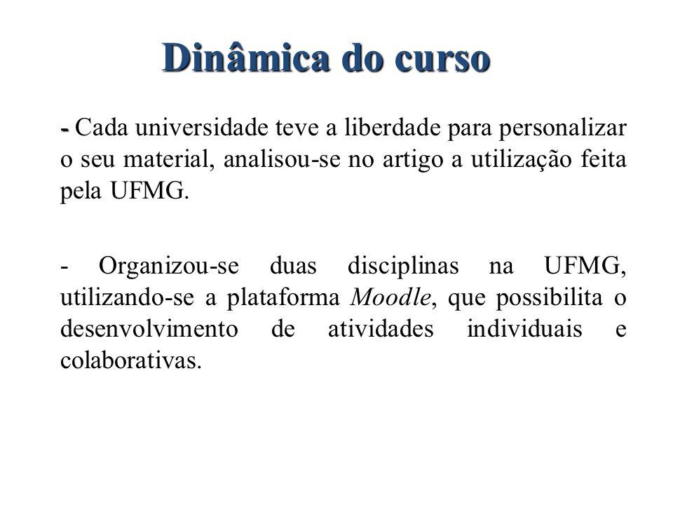 Dinâmica do curso - Cada universidade teve a liberdade para personalizar o seu material, analisou-se no artigo a utilização feita pela UFMG.