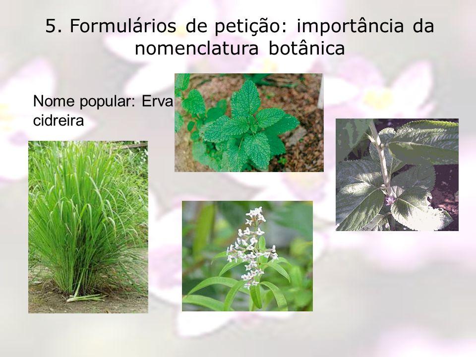 5. Formulários de petição: importância da nomenclatura botânica