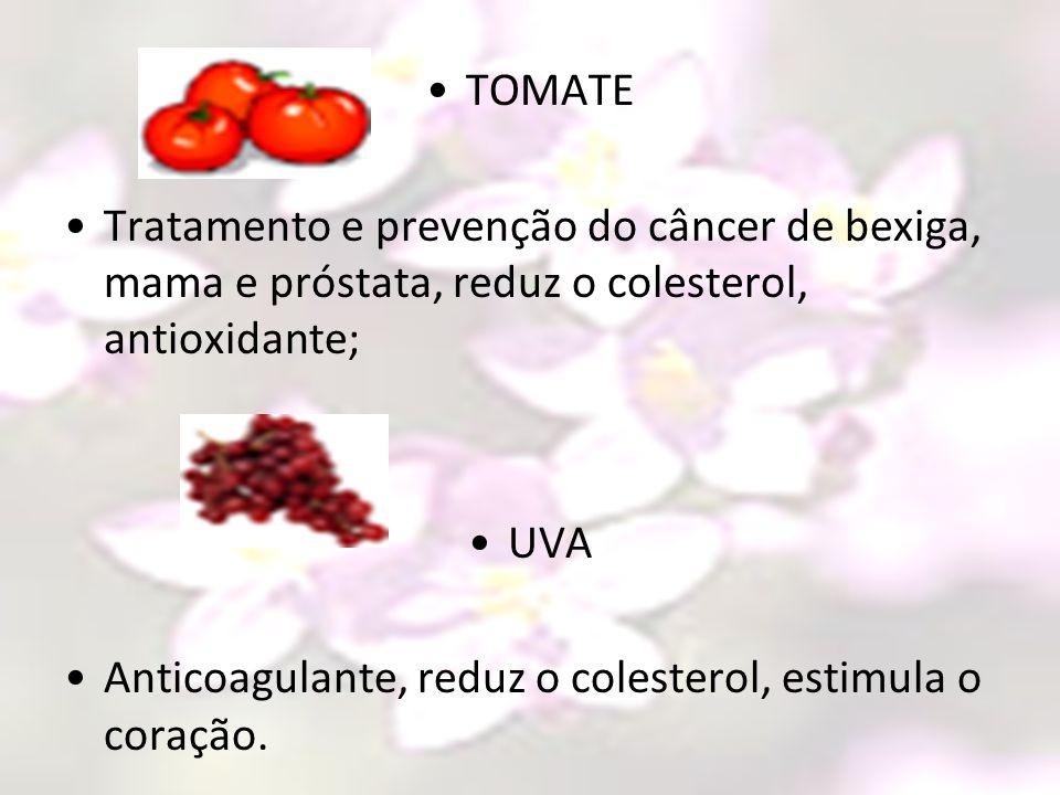 TOMATE Tratamento e prevenção do câncer de bexiga, mama e próstata, reduz o colesterol, antioxidante;