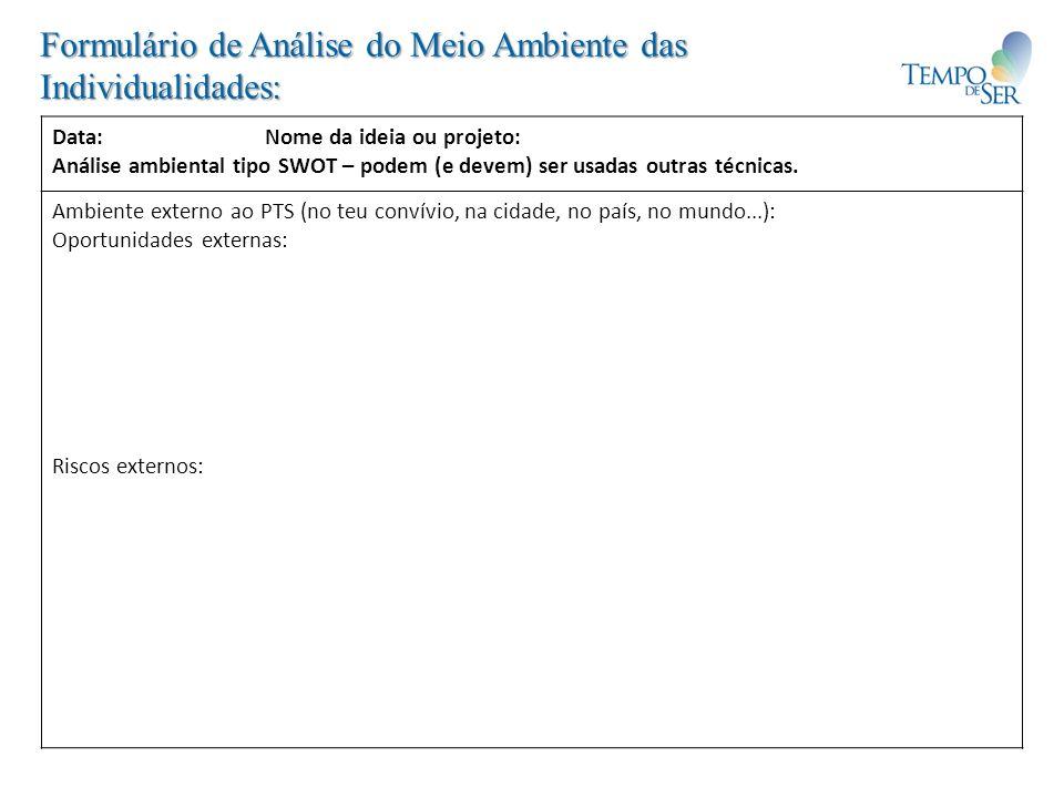 Formulário de Análise do Meio Ambiente das Individualidades: