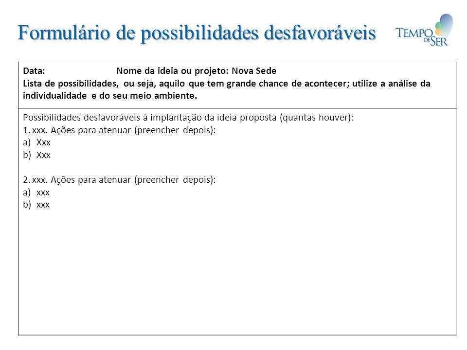 Formulário de possibilidades desfavoráveis