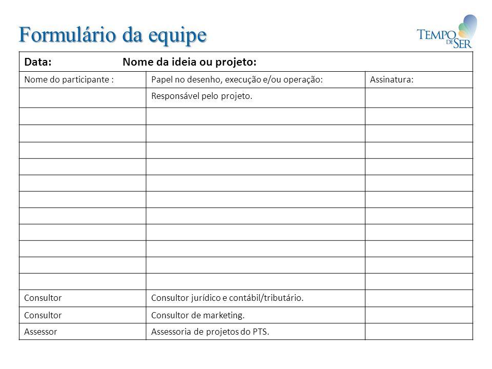Formulário da equipe Data: Nome da ideia ou projeto: