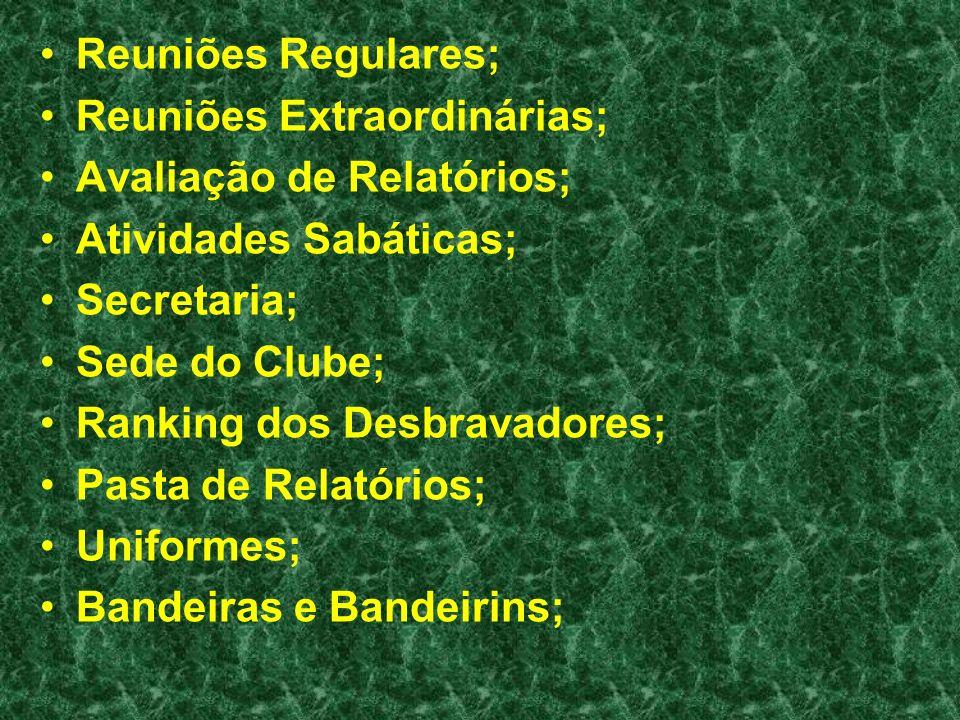 Reuniões Regulares; Reuniões Extraordinárias; Avaliação de Relatórios; Atividades Sabáticas; Secretaria;
