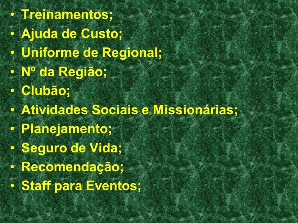 Treinamentos; Ajuda de Custo; Uniforme de Regional; Nº da Região; Clubão; Atividades Sociais e Missionárias;